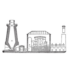 Hot blast furnace vintage vector