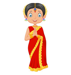 indian girl with traditional dress vector image