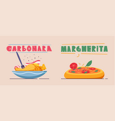 italian food delicious pasta cartoon vector image
