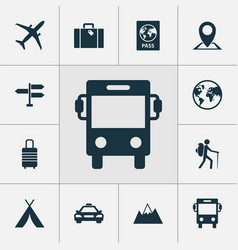 Journey icons set collection of bag car vector