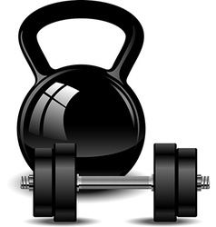 Kettlebell and dumbbell vector image