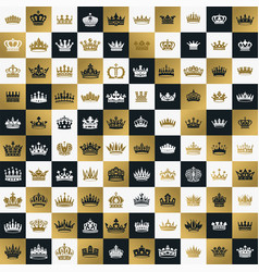 king and queen crowns symbols vector image