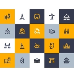 Landmarks icons flat style vector
