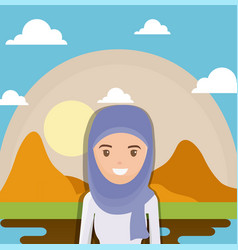 landscape of dry desert with arabic woman vector image