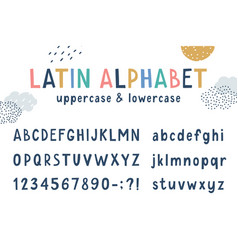 latin funny kids hand drawn alphabet vector image