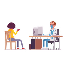 Male doctor therapist consulting patient vector