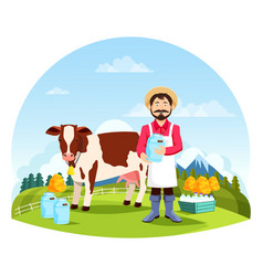 Man near cow with bottles and cans of milk vector