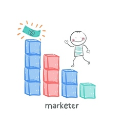 Marketer is running on schedule to money vector