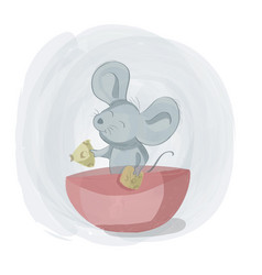 mice eat cheese on a bowl on a bowl cute cartoon vector image
