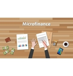 Microfinance person work in his table on some vector