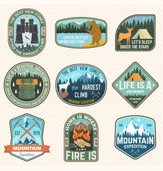 mountain expedition and outdoor adventure badges vector image