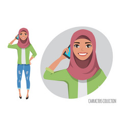 Muslim women character is talking on the phone vector