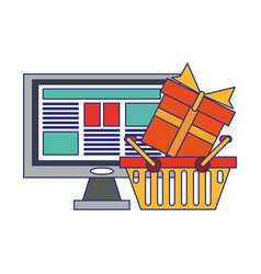 Online shopping and payment blue lines vector