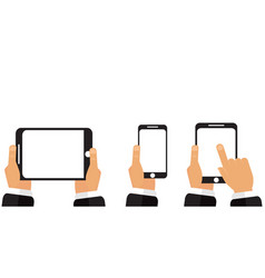 phone tablet in his hands vector image