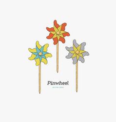 pinwheel paper windmill hand draw sketch vector image