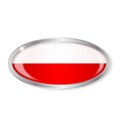 Polish flag oval button vector