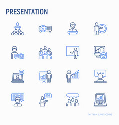 Presentation thin line icons set vector