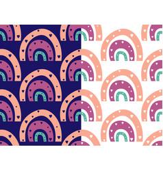 Rainbow seamless pattern hand drawn bono vector