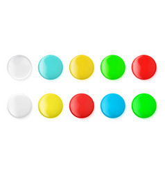 realistic glossy icons buttons badge mockup vector image