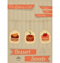 retro menu for cafe pastry shop vector image