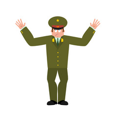 Russian officer confused soldier oops face vector