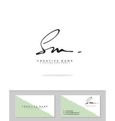 S m sm initial logo signature handwriting vector