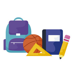 School bag with textbook and set supplies vector