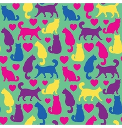 Seamless pattern with cats and hearts vector