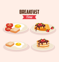 Set delicious fried egg with waffles and pancakes vector