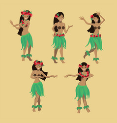 set girl in dance beautiful graceful hawaiian vector image
