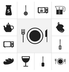 Set of 12 editable cook icons includes symbols vector