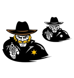 Sheriff with gun in cartoon mascot style vector image