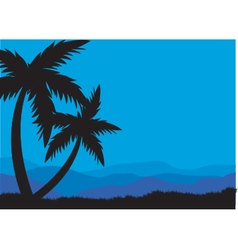 Silhouettes of two palm vector image