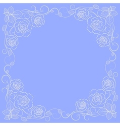 Simple floral frame in white vector