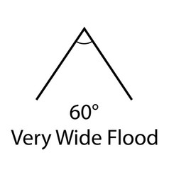 Sixty degrees very wide flood sign beam angle sign vector
