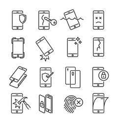 smartphone protection icon set on white background vector image