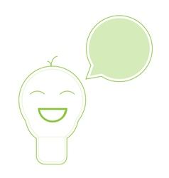 Smile light bulb icon with speech green bubble vector image