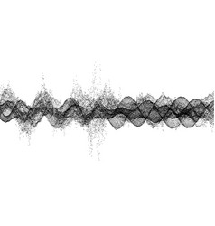 sound waves dynamic effect with particle 3d grid vector image