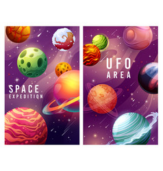 Space expedition and ufo area galaxy planets vector