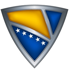 steel shield with flag bosnia and herzegovina vector image