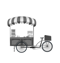 street food cart bike cafe stall with stuff vector image