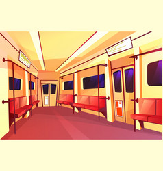 Subway train empty carriage inside interior vector