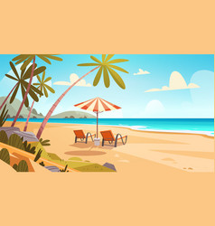 Summer vacation loungers on sea beach landscape vector