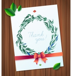 THANK YOU watercolor floral wreath vector image