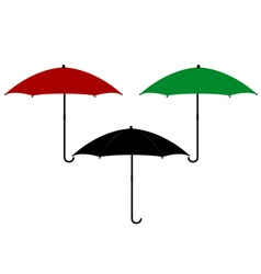 Three umbrellas in different colors vector