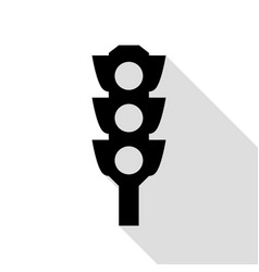 traffic light sign black icon with flat style vector image