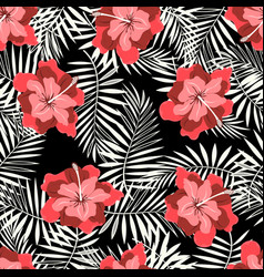 tropical pattern on black vector image