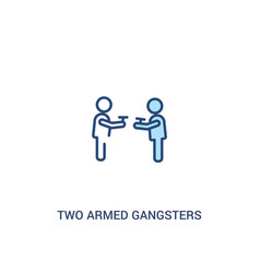 Two armed gangsters pointing each other with vector