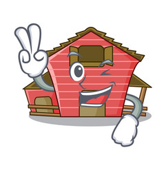 Two finger a red barn house character cartoon vector