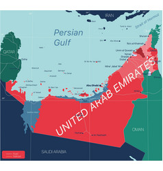 United arab emirates country detailed editable map vector